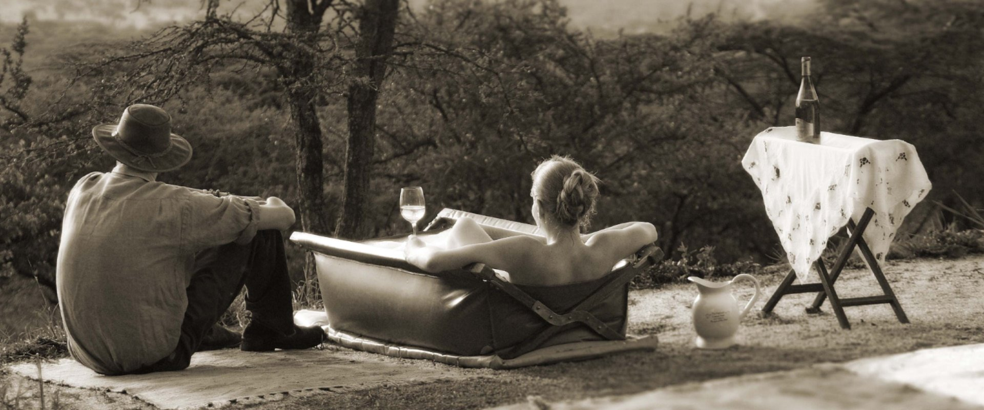 Relax in a canvas bush bath surrounded by nature
