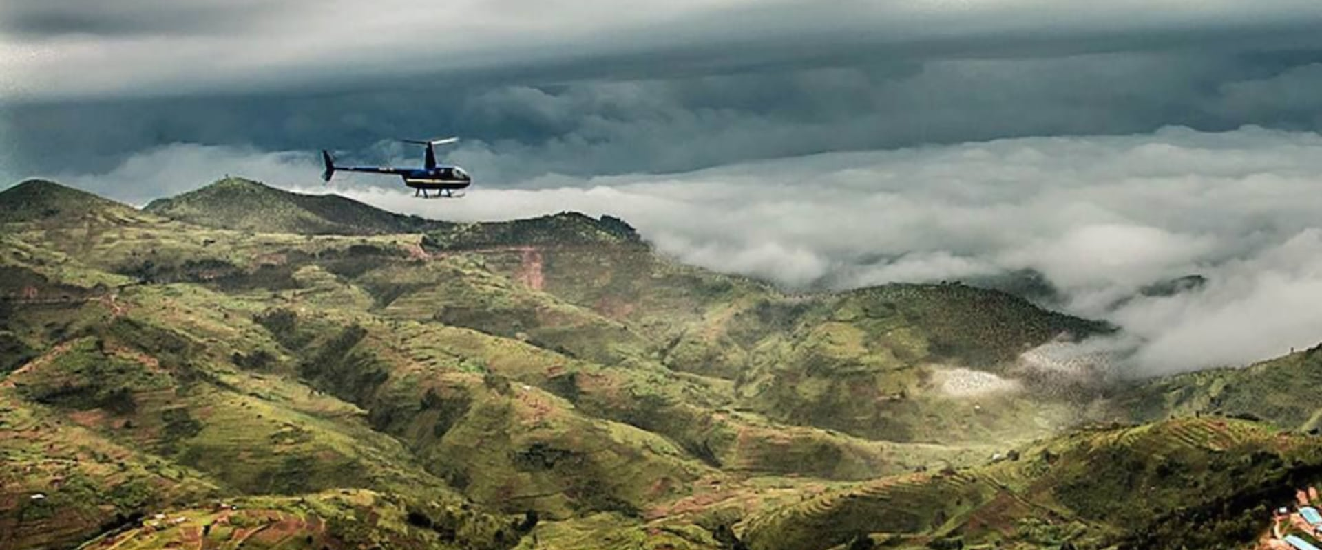 Take a helicopter flight over Rwanda's countryside