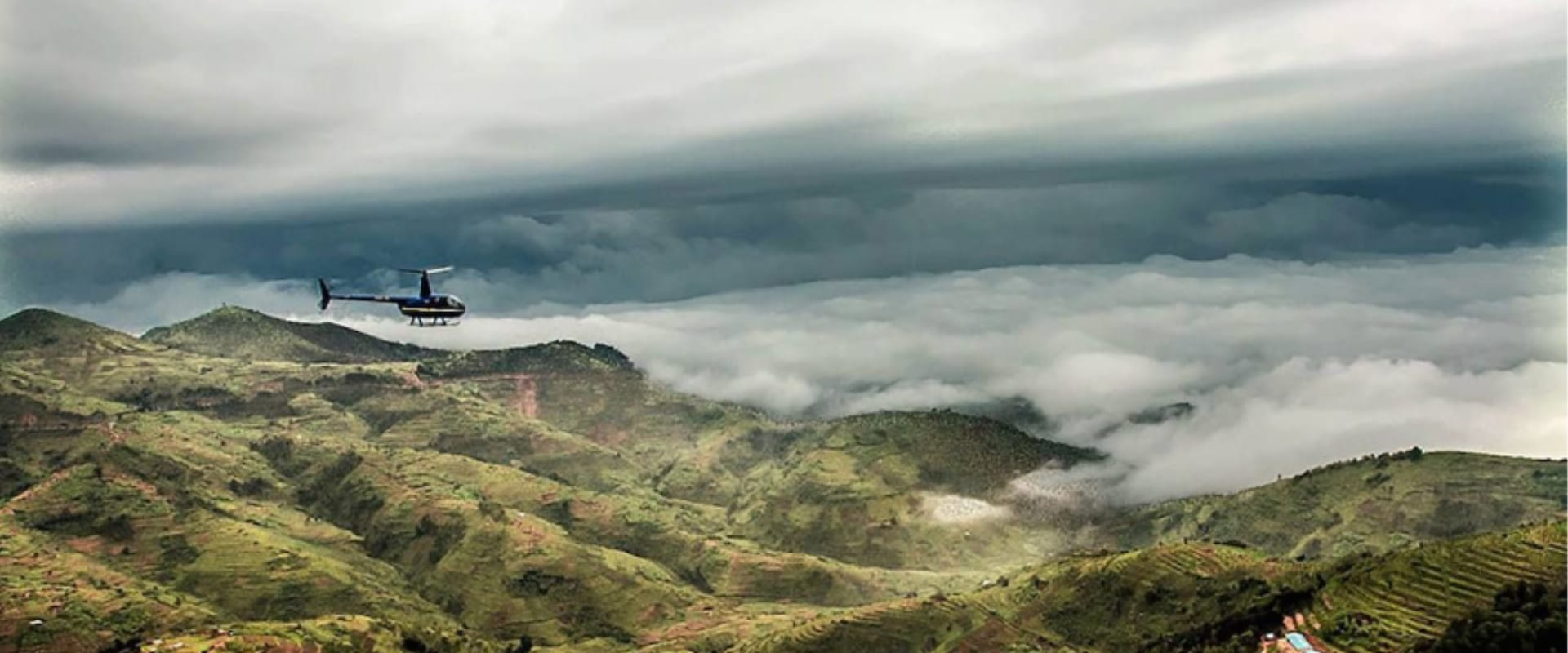 Enjoy the game rich Kenyan highlands from a helicopter