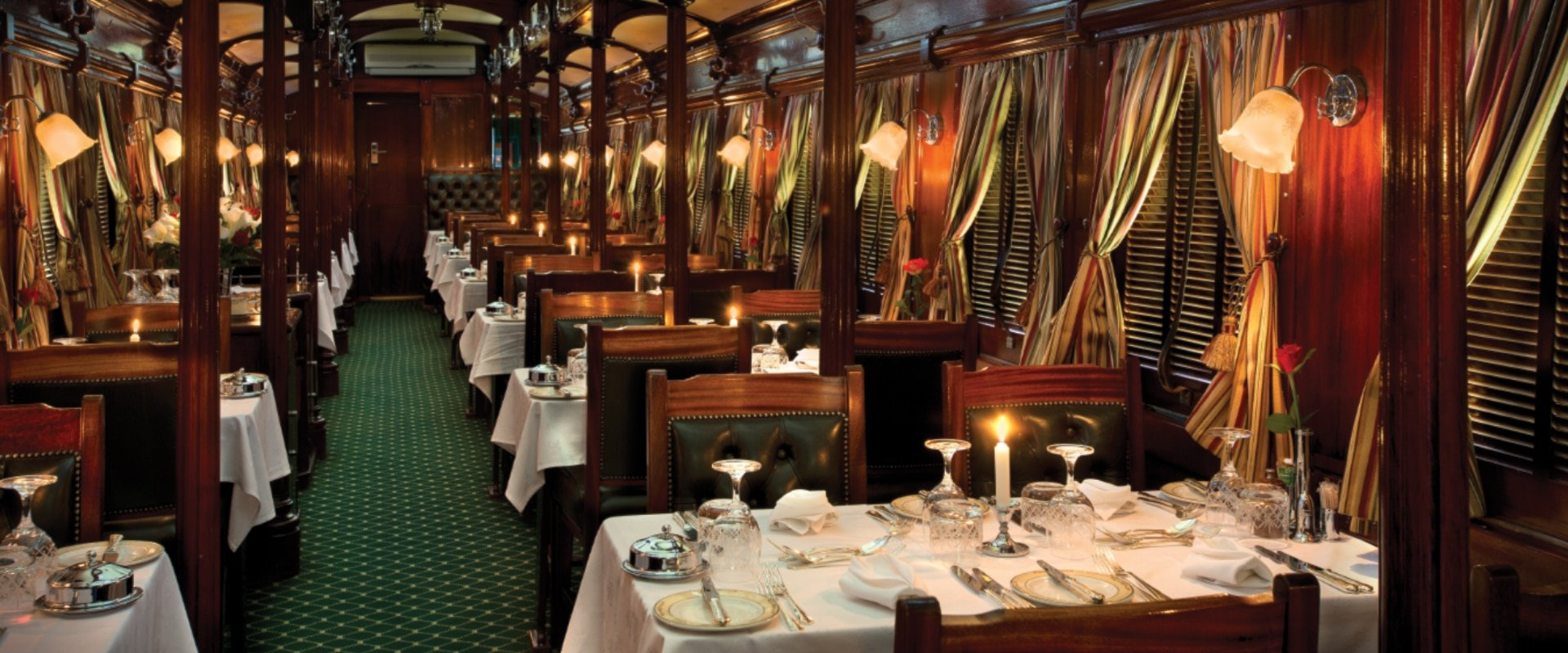 Elegant dining on board beautiful pre-1940 dining cars